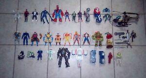 42-Pc-Action-Figure-And-vehicle-Lot-Marvel-DC-XMen-Spiderman-Custom-Parts-batman