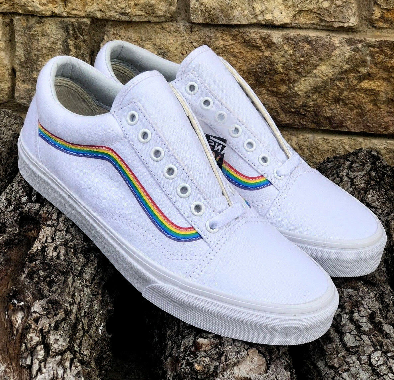 New  Vans Old Skool Pride Rainbow White Canvas Super Rare     Men's Size 11