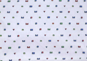 Vtg-90s-Wullschleger-Toy-Block-Print-White-Sweat-Jersey-Sewing-Fabric-2-5-Yards