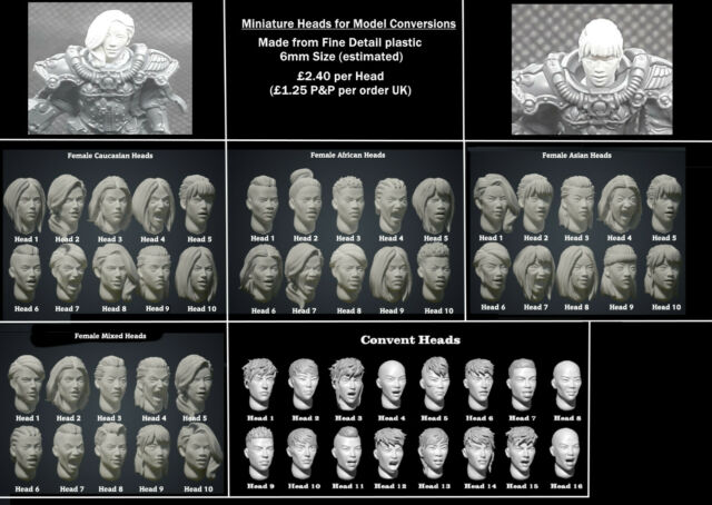 Female and Male model heads for Warhammer New Stock Warmachine etc 6mm size