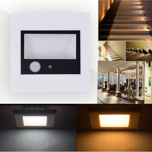 0-6W-3W-LED-Wandeinbauleuchte-Wandleuchte-Treppenlicht-mit-Bewegungsmelder-230V