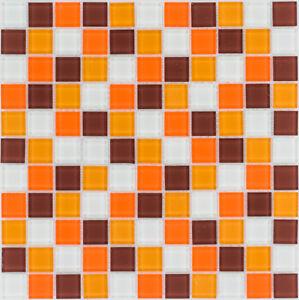 Das Bild Wird Geladen Glasmosaik Fliesen Orange Braun Weiss Wand Dusche WC