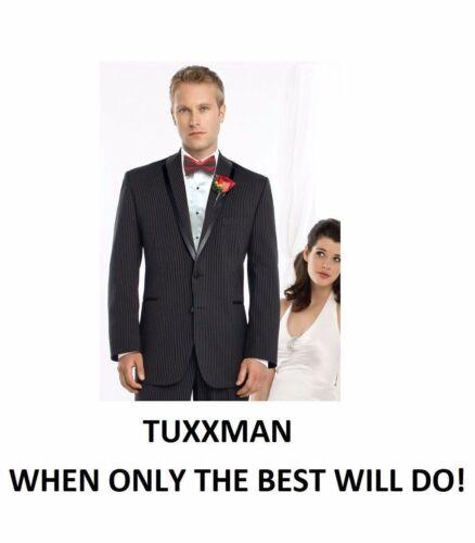 Nice Black White Striped Segal Tuxedo Gangster 2 button Wool Coat Pants TUXXMAN