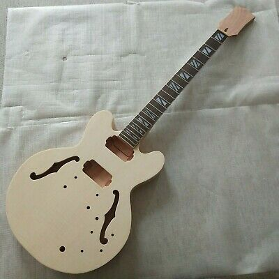 Diy Es335 Style Guitars Mahogany Body And Neck Unfinished Electric Guitar Kit Ebay