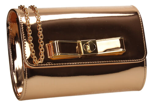 Womens Bow Metallic Leather Rose Gold Silver Ladies Party Prom Smart Clutch Bag