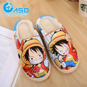 Anime-ONE-PIECE-Monkey-D-Luffy-Winter-Warm-Plush-Antiskid-Indoor-Home-Slippers