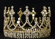 Gold Rhinestone Crown Wedding Pageant Prom Costume Cake Topper Decoration C11