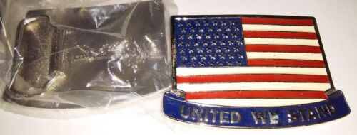 "United States Of America /""UNITED WE STAND/"" Flag Metal Novelty Belt Buckle"