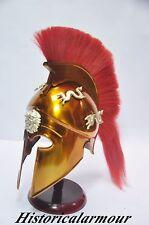 Greek COSTUME Corinthian Helmet w/red Plume SCA costume Roman Armour Spartan