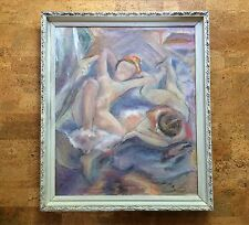 Fine Mid-Century Oil Painting, Female Nudes in Manner of Degas, Gay Lesbian Art