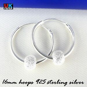 925-STERLING-SILVER-16mm-HOOP-EARRINGS-WITH-STARDUST-BALL-BEADS-SOLID-NOSE-RINGS