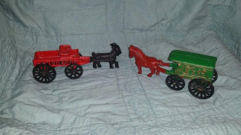 Hierro Fundido Vintage Express Cabra dibujado Wagon + Caballo de correo de Estados Unidos dibujado diligencia  2 Lote