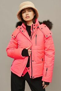 Topshop-Pink-Ski-Jacket-With-Faux-Fur-Hood-Size-UK8-EUR36-US4