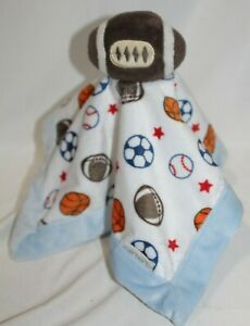 Carters-Football-Blanket-Baby-Security-Lovey-Blue-White-Brown-Plush-Sports-Boys