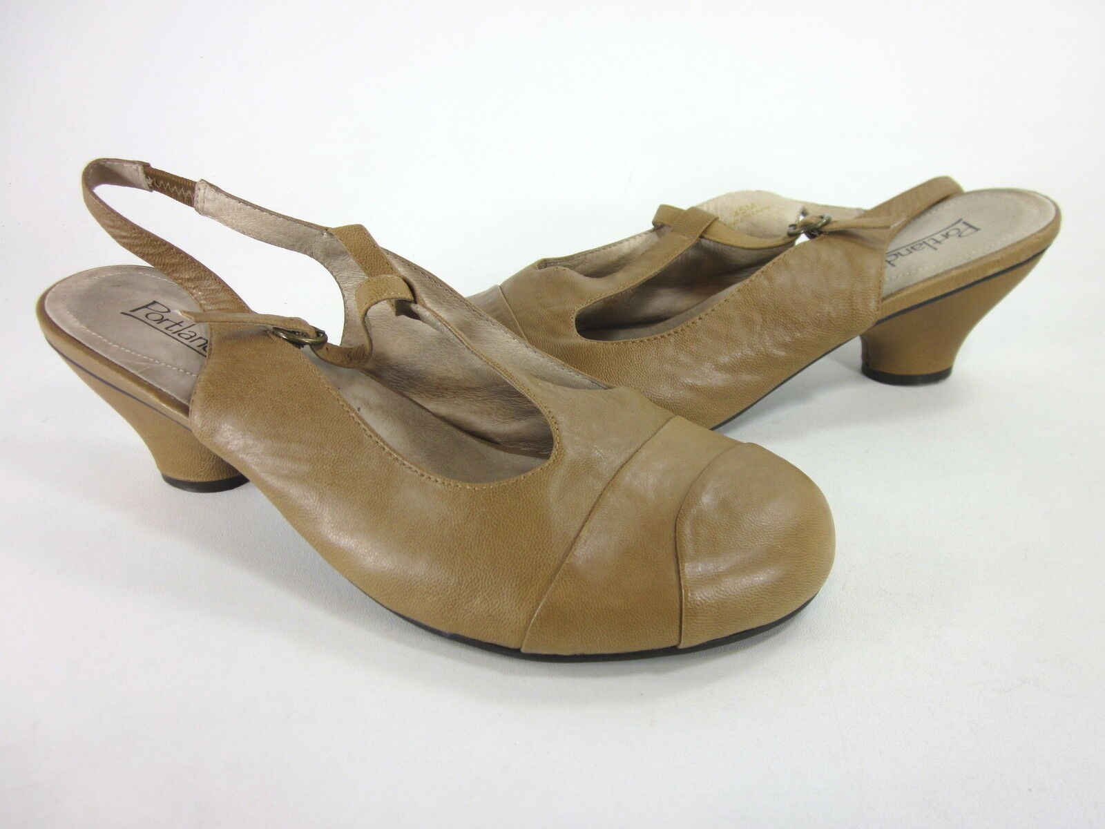 PORTLANDIA WOMEN'S BOLOGNA T-STRAP PUMP TAN LEATHER EUR EUR EUR SIZE 45 US 13 MEDIUM d08fe1