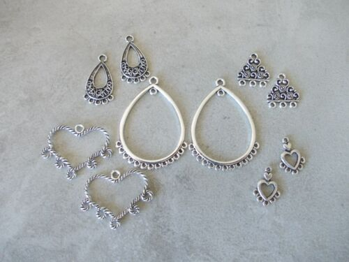 for earrings//Necklace Jewellery Making 10 x Antique Silver Chandelier Connectors