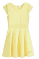 Guess Little Girls' Lace-trim Skater Dress,ggu09058a,light Yellow, Size S(4),$39