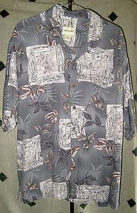 EUC-Men-039-s-JOSEPH-amp-FEISS-SS-Silk-Hawaiian-Shirt-XL-Green-Floral-Print-Button-Up