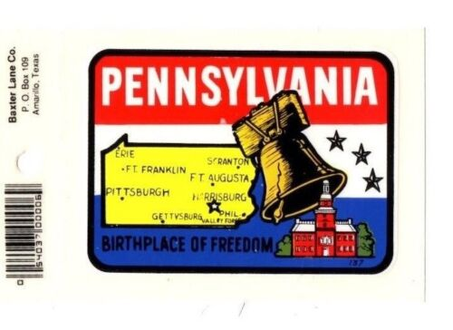 New Lot of 12 Pennsylvania Souvenir Luggage Decals Stickers Free S/&H