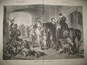 CHASSE-AU-FAUCON-CHIENS-CHEVAUX-CAVALIERS-COMPOSITION-LANDSEER-GRAVURES-1859