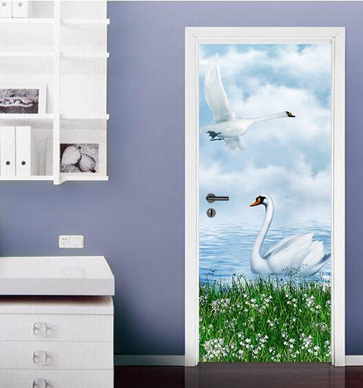 3D Schwan Malen Tür Wandmalerei Wandaufkleber Aufkleber AJ WALLPAPER DE Kyra  | Die Königin Der Qualität  | Hervorragende Eigenschaften  | Vorzüglich