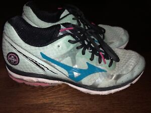 brand new 891ea 3192b Details about MIZUNO WAVE RIDER 17 Women's pale green/pink/blue Running  Shoes, size 9W