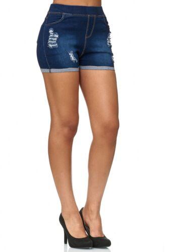 Damen Hot Pants Jeans Optik Destroyed Shorts Hüfthose Used Washed Dehnbund Hose
