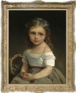 Old-Master-Art-Antique-Oil-Painting-Portrait-small-girl-on-canvas-24-034-x36-034