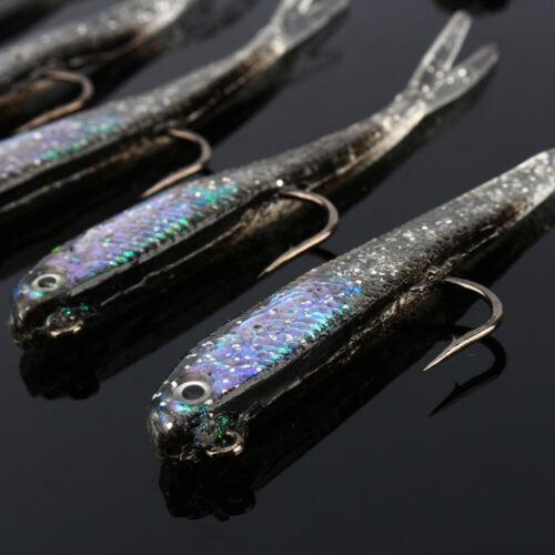 EC /_ 10x Silicone Lead Head Jig Baits Hook Artificial elritze Bait angelzube
