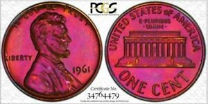 1961-1C-PCGS-PR67RB-Lincoln-Amazing-Toned-Deep-Pink-RicksCafeAmerican-com