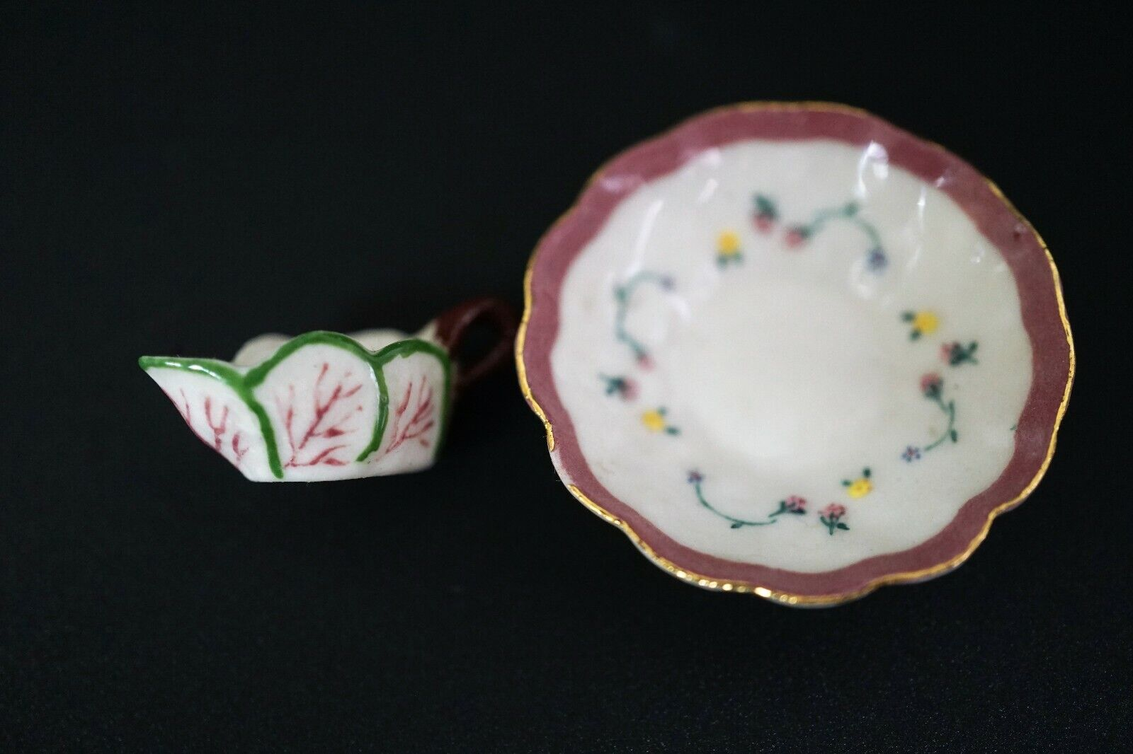 Miniature Dollhouse Hand Painted Porcelain Ron Benson Creamware Creamer and Bowl