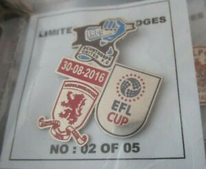 MIDDLESBROUGH SCUNTHORPE UNITED LIMITED EDITION  EFL CUP 2016 COLOURED BADGE