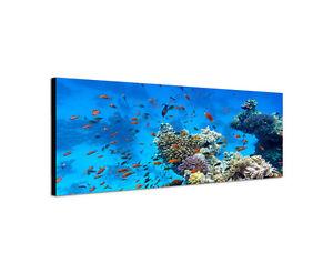 120x40cm-Unterwasserwelt-Korallenriff-Tauchen-Fische-Wandbild-Leinwand-Sinus-Art