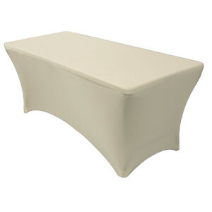 Stretch-Spandex-Fitted-6-Ft-Rectangular-Table-Cover-Ivory-Stretch-Tablecloth