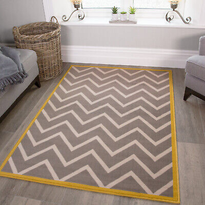 Gray Ochre Yellow Rugs Zigzag, Gray And Yellow Rugs For Living Room