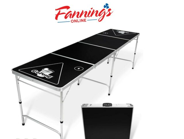 USED GoPong 8 Foot Portable Beer Pong / Tailgate Tables Black, NO BALLS, Cracked
