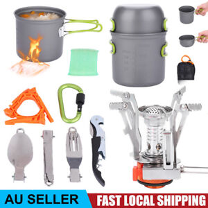 Camping Cookware Set With Stove Cooking Picnic Bowl Spoon Pot Pan Fork Set