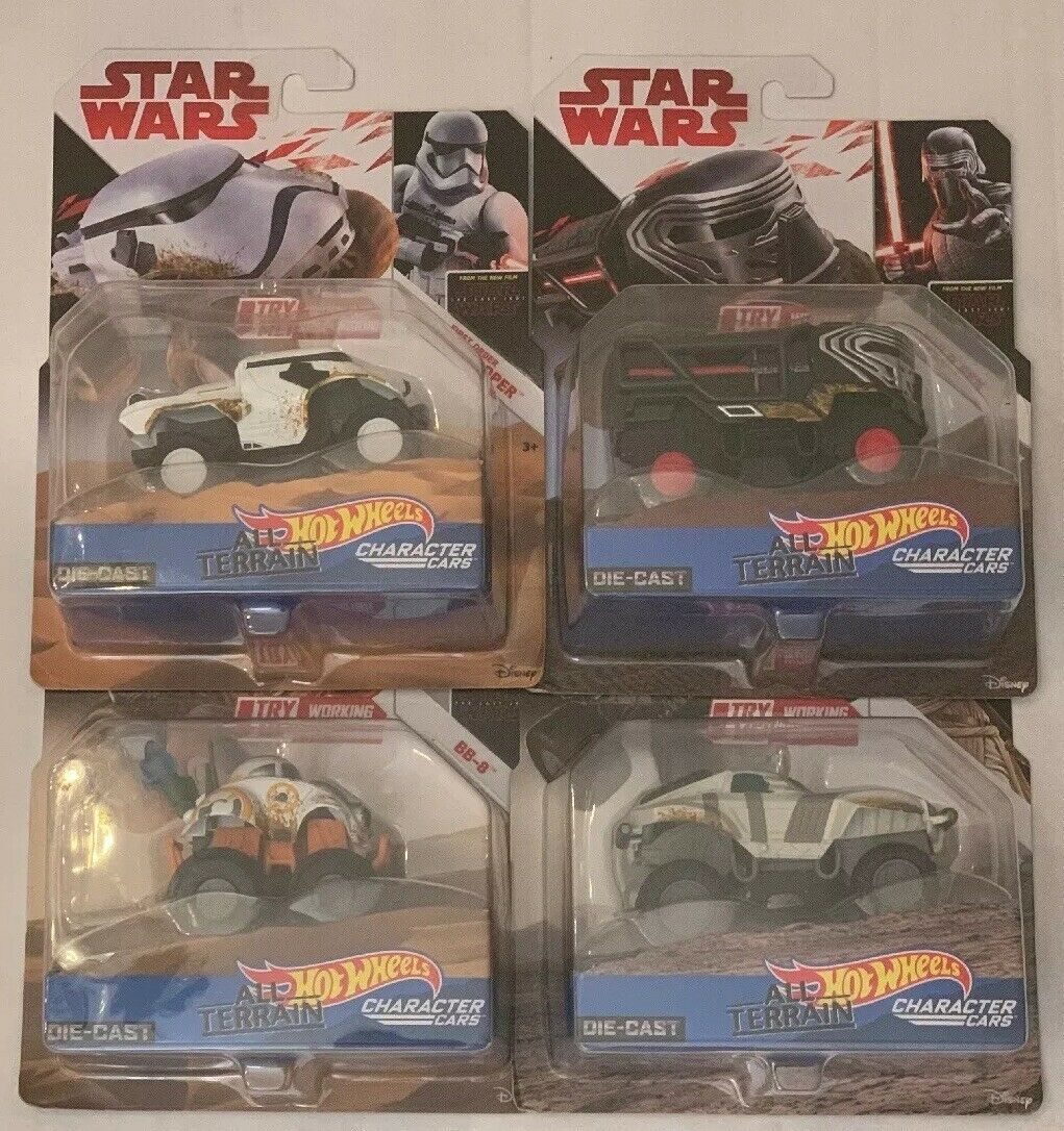 Hot Wheels Star Wars All Terrain Character Cars - Set Of 4 - Rey Kylo Ren BB-8