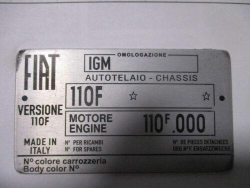 Panneau Type Fiat 500 Bouclier Cinquecento 110 F 110F s51 Oldtimer