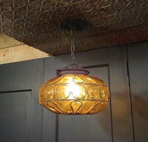Details About Vintage Amber Bubble Gl Hanging Pendant Light Fixture N Murano