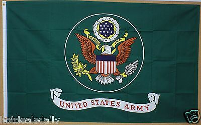 UNITED STATES ARMY FLAG 3'X5' US MILITARY BANNER 3X5 GREEN BACKGROUND WITH SEAL