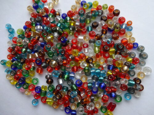 50gms Glass seed beads 2mm Clear// Vibrant Mix Silver Lined OR Opaque 11//0