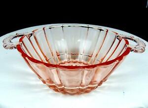 ANCHOR-HOCKING-OLD-CAFE-PINK-DEPRESSION-GLASS-5-1-2-034-HANDLED-BOWL-1936-1940