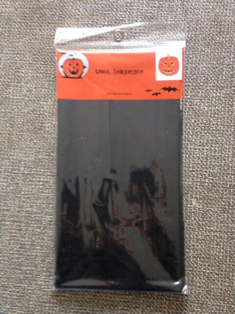 """Halloween tablecloth 48"""" x 72""""  Vinyl Black (T-38)"""