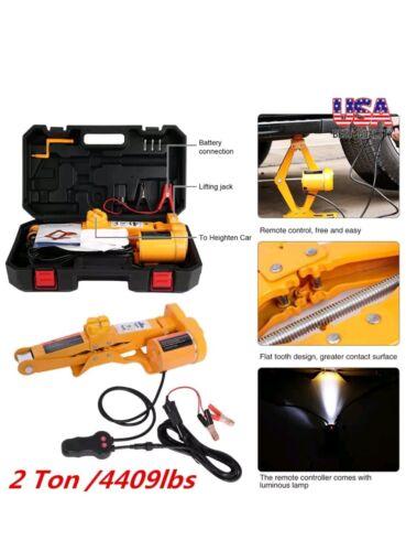 2Ton 12V DC Automotive Electric Scissor Car Jack Lifting Impact Wrench Tool Set