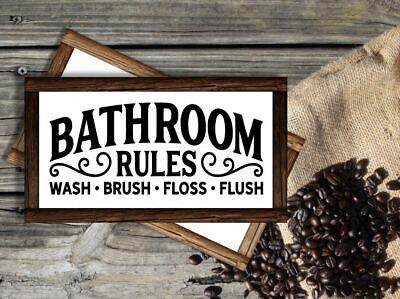 Framed Bathroom Rules Sign 5 Size Options Bathroom Decor Wood Bathroom Sign Ebay