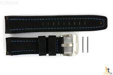 Luminox 5261 XCOR 24mm Black Leather Watch Band Blue Stitches w/ 2 Pins
