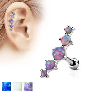 Image Is Loading 5 Opal Set Ear Cartilage Piercing Lobe Helix