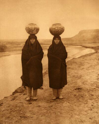 Zuni girls at the river Edward Curtis Native American Photo