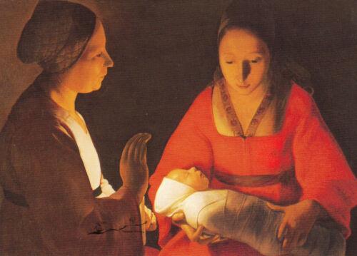 Kunstkarte// Postcard Das Neugeborene Georges de La Tour